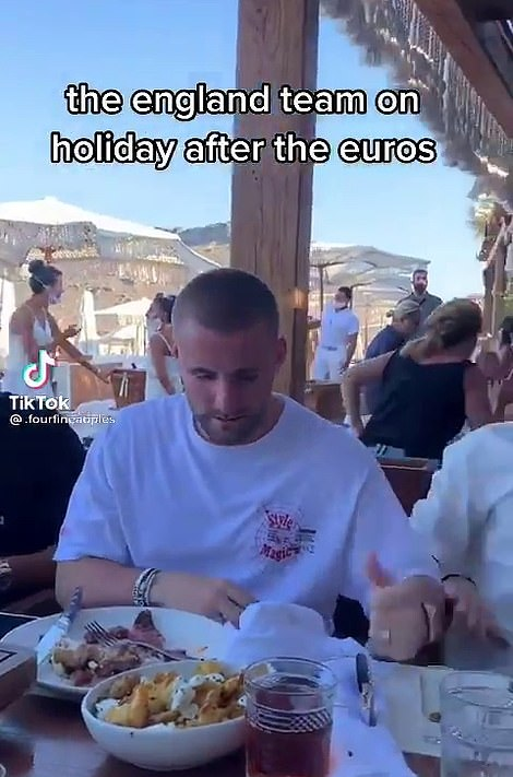 Manchester United left back Luke Shaw (pictured) was also one of the group enjoying themselves on holiday together