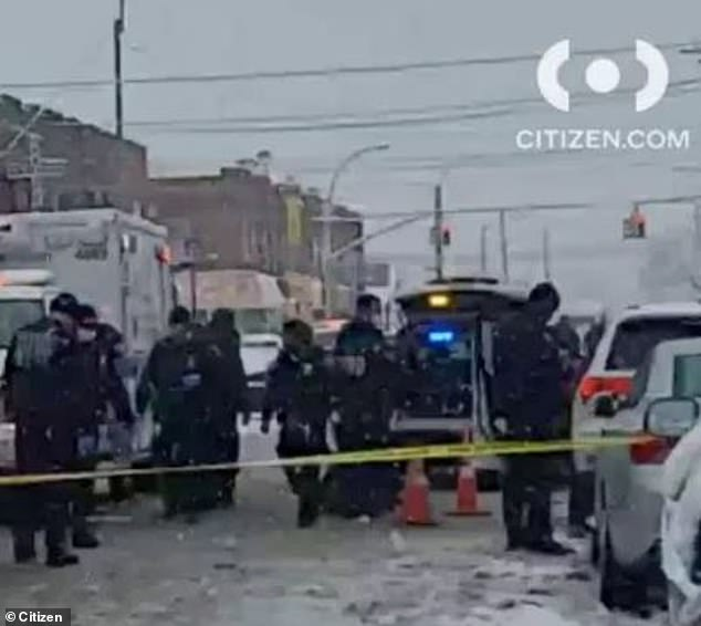 The scene of the shooting on February 7 slaying in Forest Hills, Queens, which comes amid a surge in gun crime in NYC