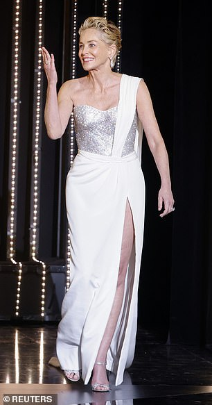 Work it! Sharon looked stunning as she stepped out on stage to present the Plame d'Or award during the closing ceremony