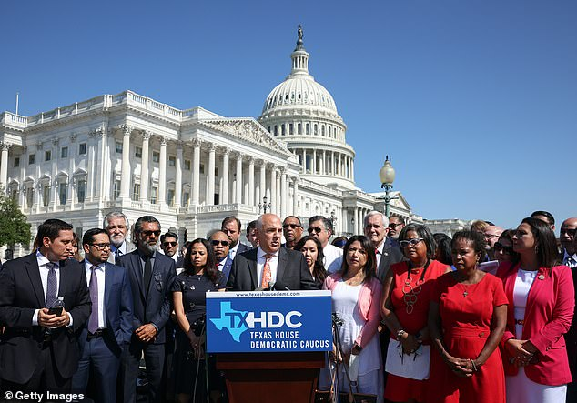 Texas Democratic State House members hold a press conference on Capitol Hill in Washington, D.C. on Tuesday, July 13, 2021