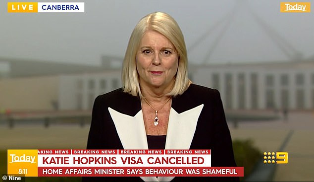 'She should have been absolutely ashamed of her own behaviour [but] I don't know whether she will be': Ms Andrews went on to condemn Hopkins' behaviour in an interview with Channel Nine's Today Show on Monday