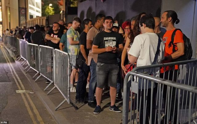 Pictured: People queued up for the Egg nightclub in London after the final legal coronavirus restrictions were lifted in England at midnight
