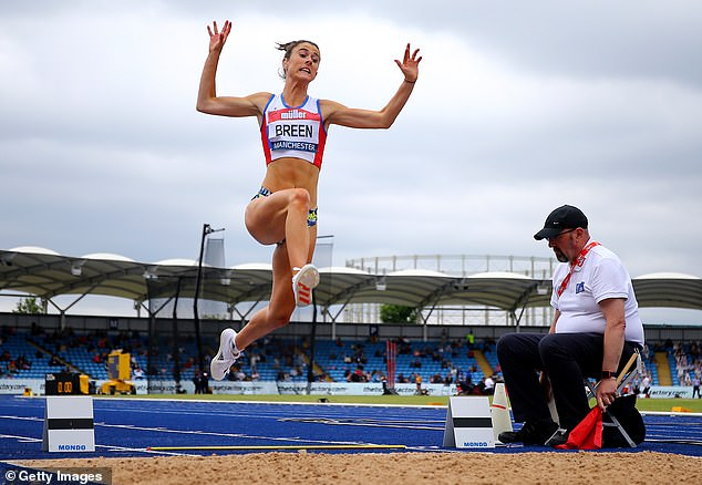 Olivia, pictured wearing the briefs at theMuller British Athletics Championships in Manchester last month, said female athletes should not be questioning how they look when competing