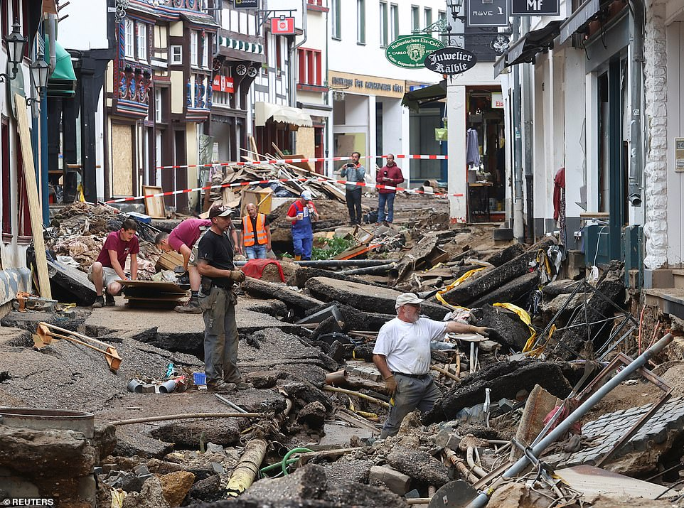 A near-destroyed street is pictured in the German town ofEuskirchen after flooding last month caused widespread destruction, with the death toll now above 180