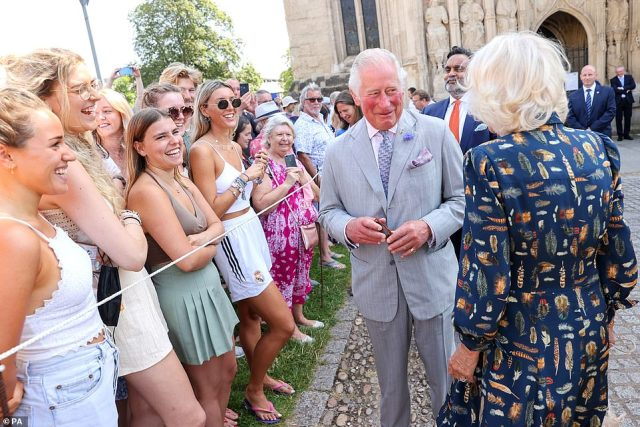 The Prince of Wales and Camilla Parker Bowleskicked off their three-day tour of the South West with a visit to Exeter Cathedral today