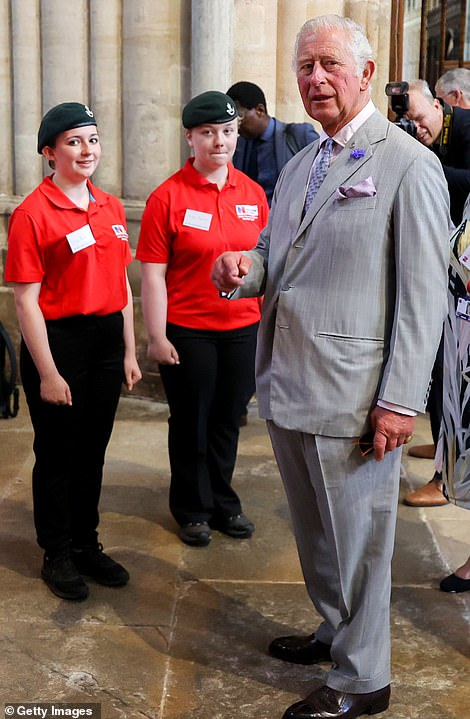 Prince Charles chats to young people from Devon Nursing Cadets