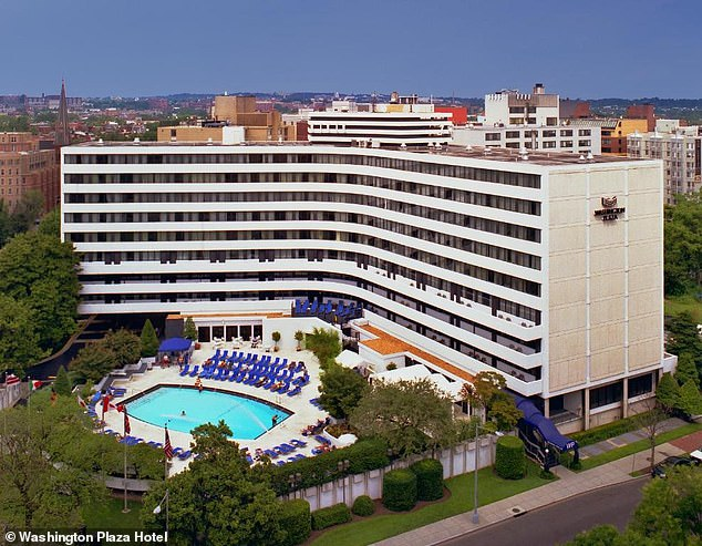 The group is staying in the Washington Plaza Hotel in northwest D.C., which featured an outdoor pool. The common areas used by the group have been deep cleaned following their diagnosis