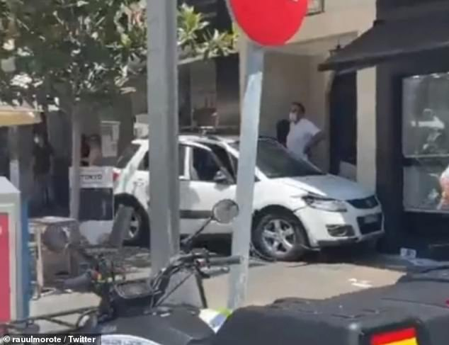 Pictured: The car that drove through the crowds of bar-goers in Marbella on Monday