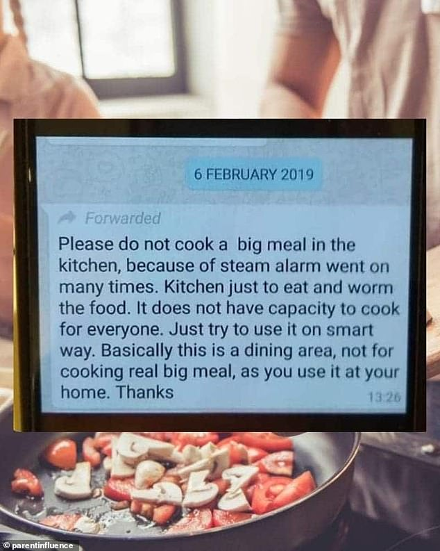 Stay hungry! A landlord who is fed up of steam setting off the alarm in the kitchen, told tenants to use the room only as a dining area