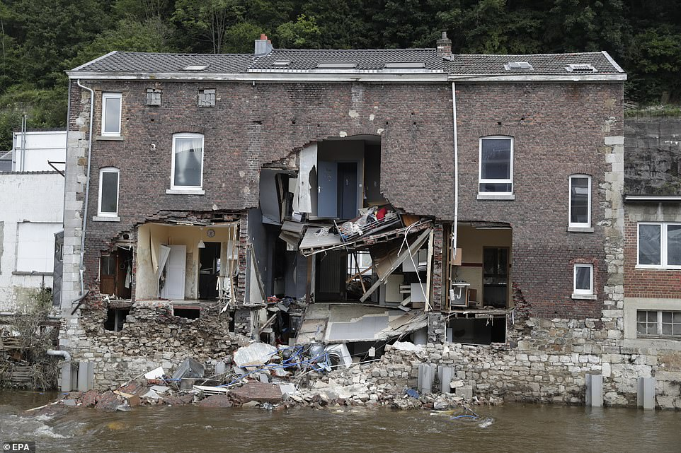 Destruction after heavy rains caused flooding in Pepinster, Belgium