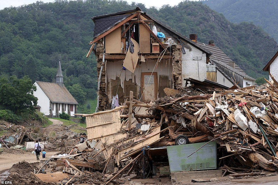 A partially collapsed house in Altenahr, Germany, after heavy flash floods when the river Ahr broke its banks on July 14 and 15