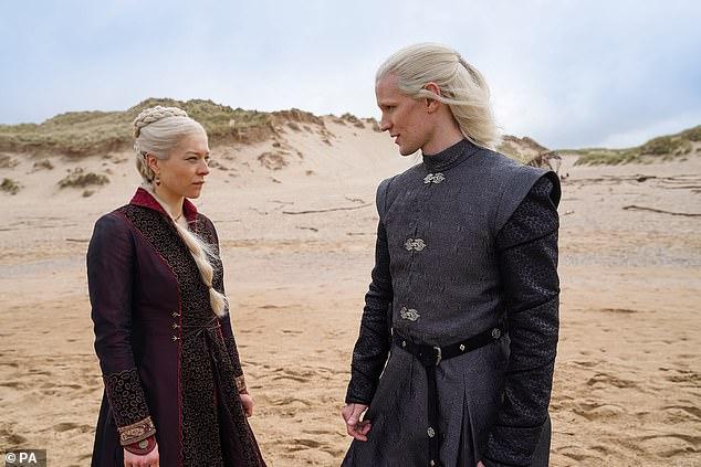 Delays: Production on House Of The Dragon has been paused after a person involved with making the Game Of Thrones prequel tested positive for Covid-19 (Emma D'Arcy and Matt Smith pictured filming the series earlier this year)