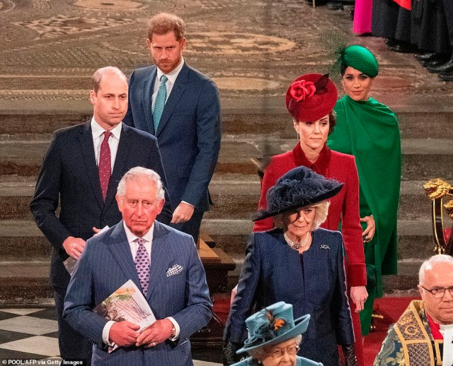 Harry also said his brother and father were 'trapped' by the institution of monarchy, and that feels 'really let down' by his father Charles.Duke of Cambridge, Prince Charles, Prince of Wales, Prince Harry, Duke of Sussex, Duchess of Cornwall , Duchess of Cambridge, Duchess of Sussex (R) depart Westminster Abbey after attending the annual Commonwealth Service in 2020