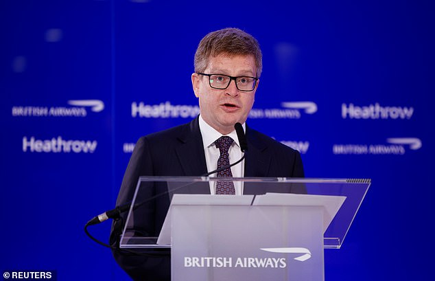 British Airways CEO Sean Doyle speaks at a news conference at Heathrow Airport in London, Britain, May 17, 2021