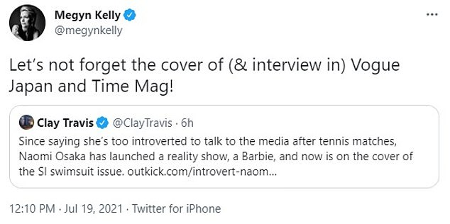 Kelly pointed out that Osaka stars on several covers this month, accusing her of hypocrisy after she pulled out of the French Open citing efforts to protect her mental health