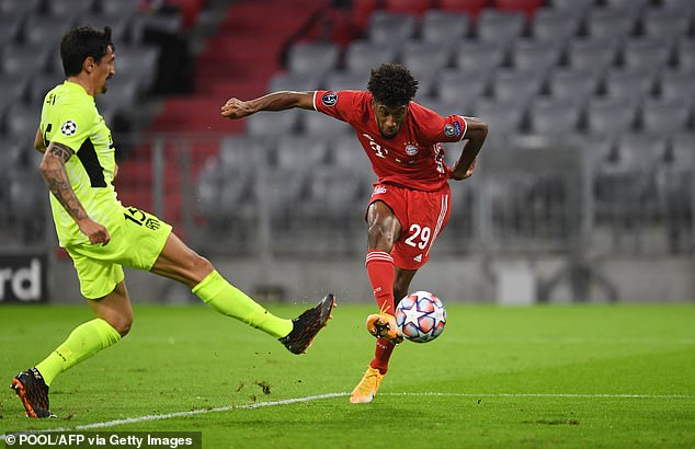 Kingsley Coman (right) could be offered up in a swap deal to tempt Chelsea to sell up