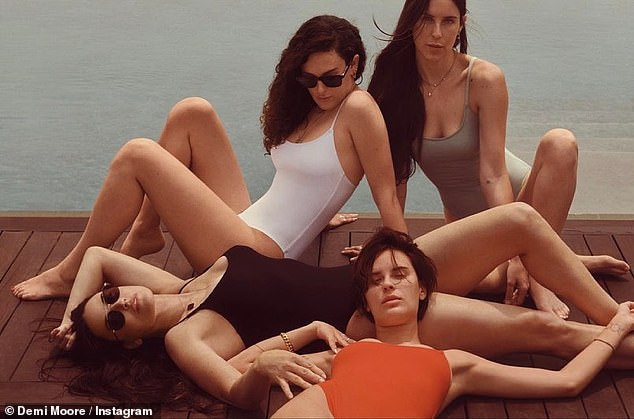 Family shoot:Perhaps the most standout shot for the campaign was Scout posing in the swimwear alongside mother Demi, 58 (in black) older sister Rumer Willis, 32 (in white) and younger sister Tallulah Willis, 27 (in red)