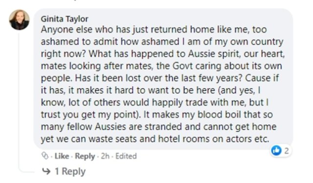 Questioned: Many travellers in quarantine questioned why Hopkins was allowed to fly into the country while Australians are stranded overseas