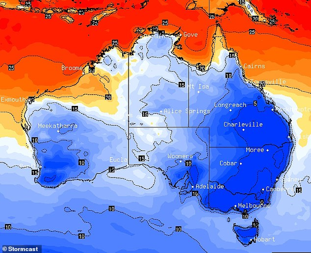 Australia is in for an icy cold week with the south-east to see damaging winds and very low temperatures (pictured, the forecast for Wednesday)
