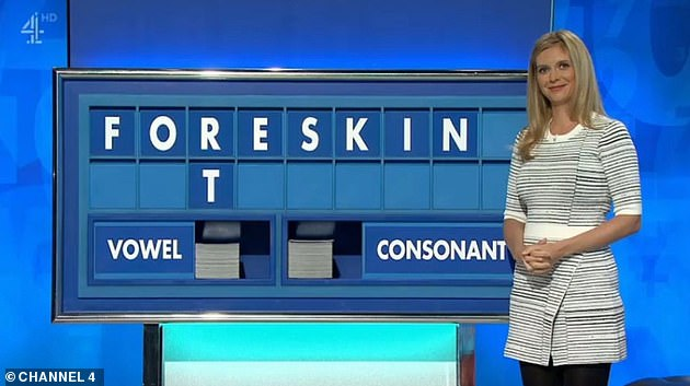 Ahem!In December, Rachel was left embarrassed after she spelled out the words 'foreskin' and 'stonker'