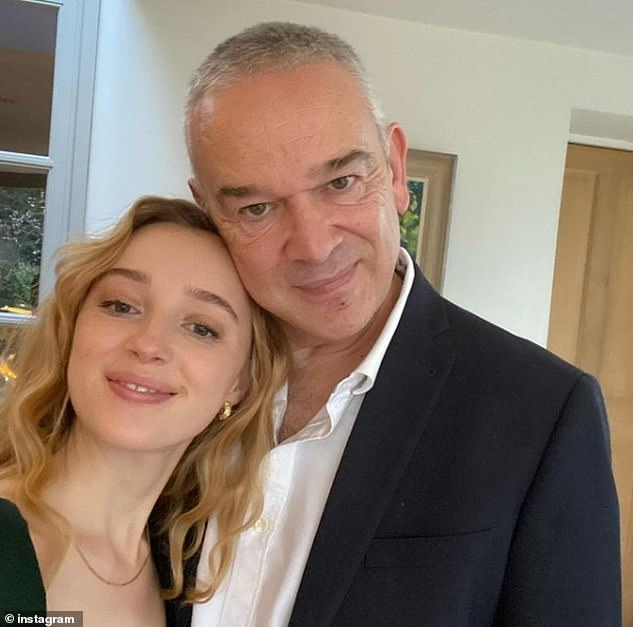 Doting dad:Tim referred to Phoebe as his 'little rabbit' as he marked her 26th birthday with a father-and-daughter selfie