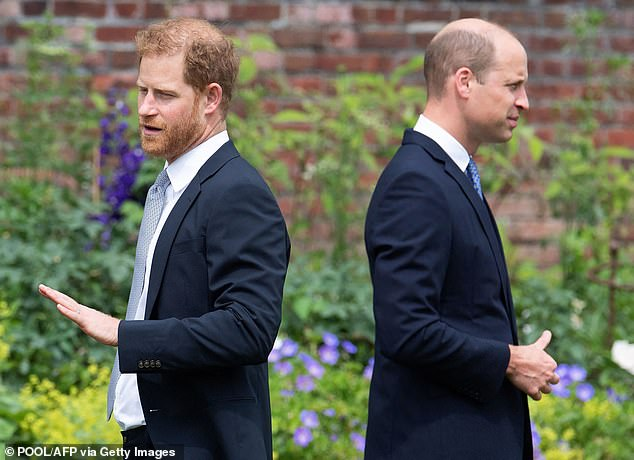 I wrote recently that I hoped Harry and his brother William might make peace after they came together for their mother Diana's statue unveiling in London. But given this latest news, why should William have anything more to do with the brother who constantly betrays him and his family in public in such a shameless, shameful manner? Harry's timing, as always, is horrendously selfish. Pictured: Prince Harry and Prince William at the unveiling of a statue of their mother Diana in July