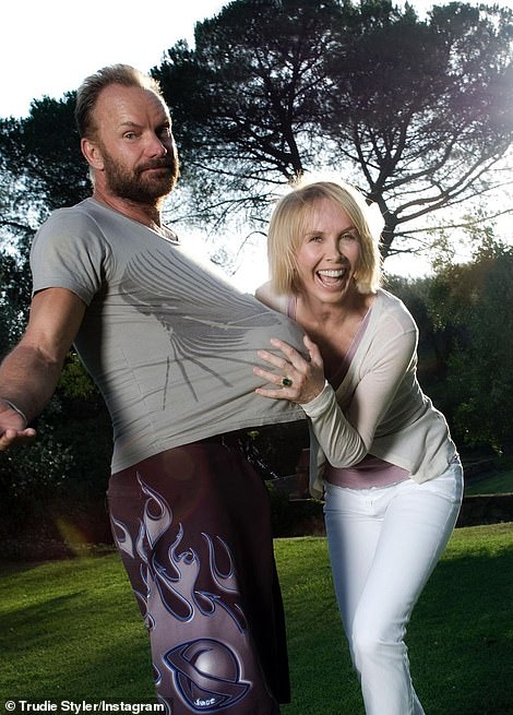 While posing with a football up her husband's shirt to mimic a pregnancy, Trudie penned: 'We're expecting¿ and have high hopes for our two favourite teams to make it to the finals. Who do you want to win? #Euro2020!'