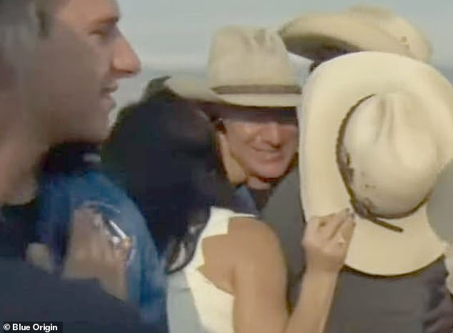 Lauren Sanchez was spotted hugging and kissing her Amazon founder boyfriend Jeff Bezos soon after he emerged from the capsule in Texas on Tuesday morning