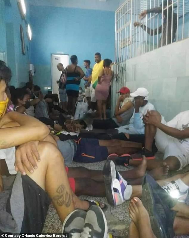 Cuban protesters are pictured in a holding cell in Havana after being arrested during demonstrations on July 11