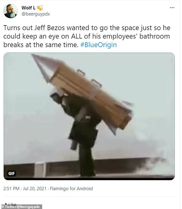 @beerguypdx said: 'Turns out Jeff Bezos wanted to go [to] space just so he could keep an eye on ALL of his employees' bathroom breaks at the same time'