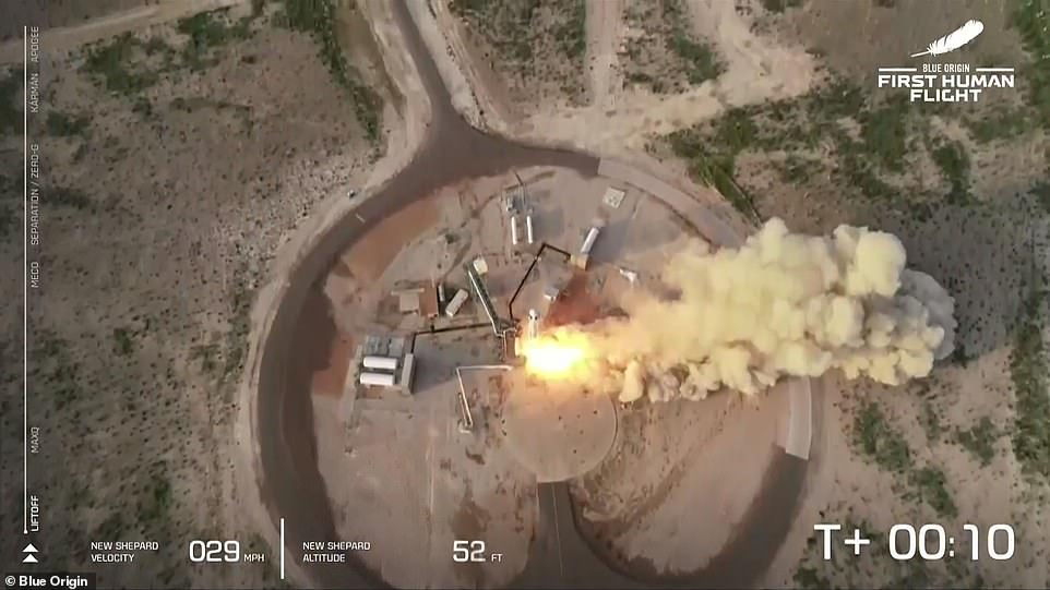 An aerial view of the rocket launch from Van Horn, west Texas, on Tuesday morning