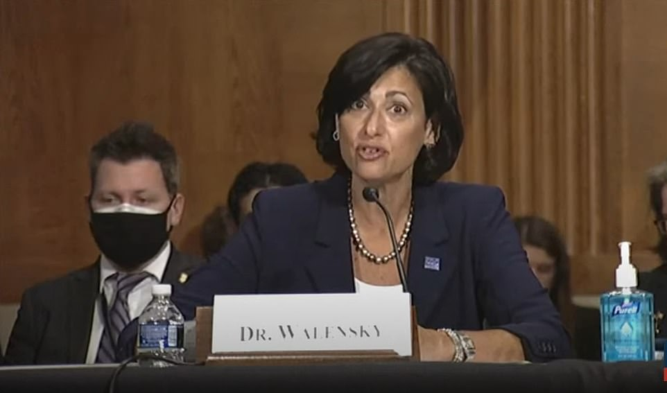 CDC director Dr Rochelle Walensky said on Tuesday during a Senate hearing (above) that the Indian 'Delta' variant is spreading, accounting for 83% of all new infections, up from 50% two weeks ago