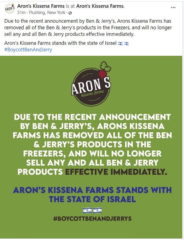 Meanwhile, several kosher supermarkets announced they would no longer sell Ben & Jerry's