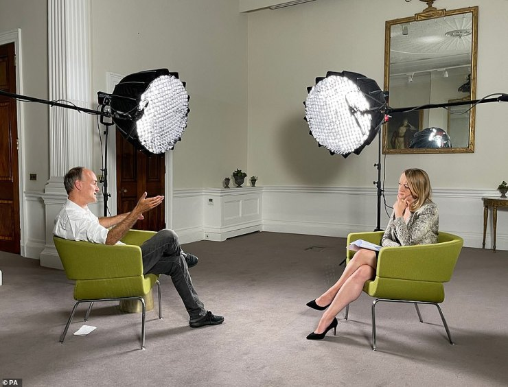 Boris Johnson wanted to meet the Queen at the start of the pandemic despite signs Covid was spreading in Downing Street, it was claimed last night (pictured: Dominic Cummings in the interview with Laura Kuenssberg)