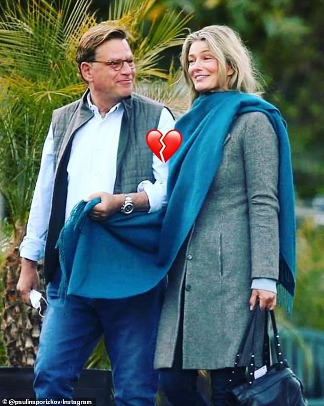 Over: The topless post comes one day after Porizkova, 56, announced on Instagram that she and screenwriter Aaron Sokin, 60, have broken up after three months of dating