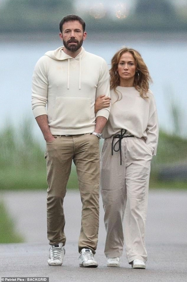 It just works: Jen and ben have been seeing each other since April; here they are pictured in the Hamptons on the 4th of July weekend. JLo looks affectionate with Ben as the lovebirds walk arm in arm all the way to the water's edge and back in matching outfits