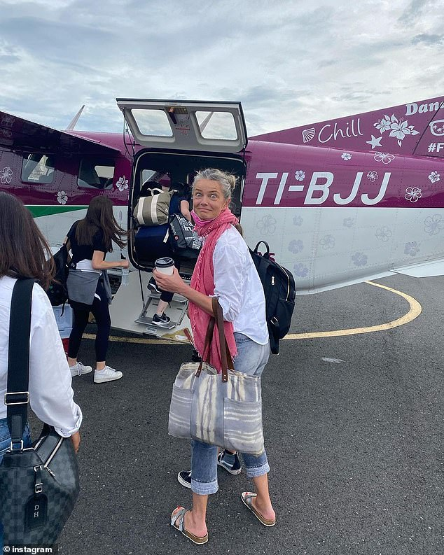 Long day: Porizkova traveled 19 hours from Rome to get to Costa Rica on July 11. 'It's vacation time thanks to my friends Thierry and Marcia,' she wrote in the caption of this photo