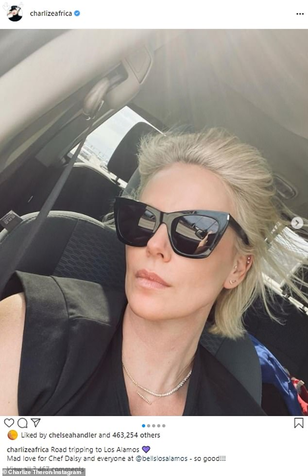 'Road tripping!'Last weekend, Charlize took a road trip North to Los Alamos where she enjoyed a very 'good' meal at family-run, French-inspired bistro Bell's