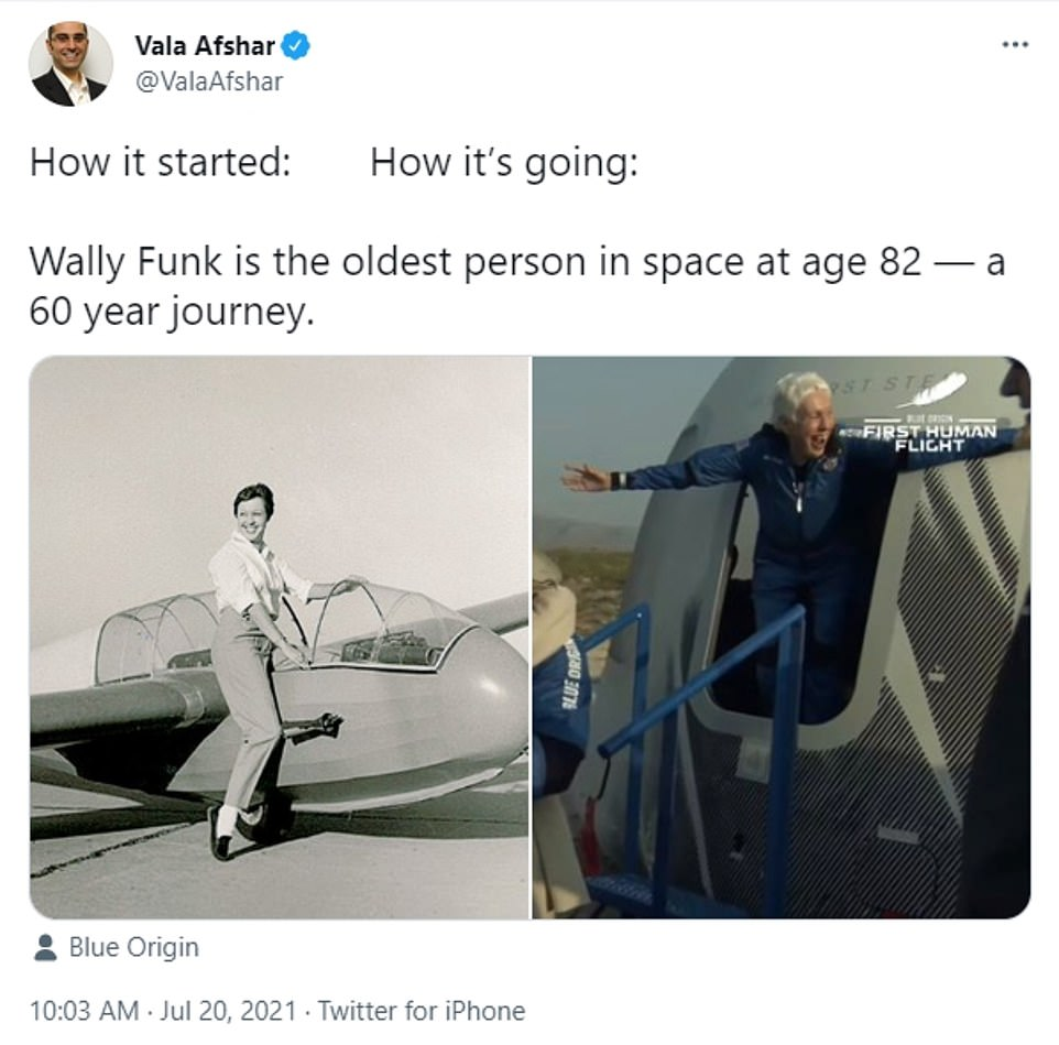 While Vala Asfhar, chief digital evangelist at Salesforce, posted a meme showing Funk as an aviator in front of a air plane and then her popping out of the Blue Origin capsule Tuesday