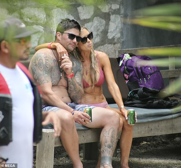 """Together: The Anaheim, California native ended the post by taking a shot at those haters, writing, 'So yeah' """"another relationship"""" guess what.  I'm 38 - I do what I want;'  pictured with Josh in Tulum, Mexico"""
