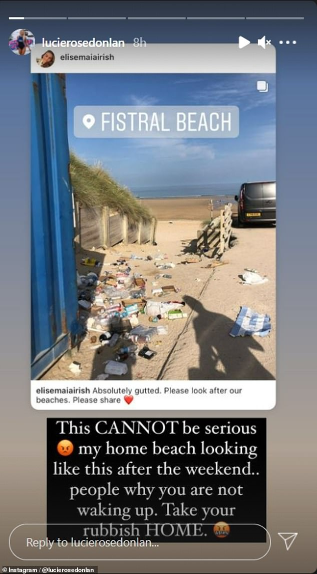 Outraged:Lucie later took to Instagram to urge beach goers at Newquay's Fistral Beach to 'take your rubbish HOME' in a recent post on her Instagram story