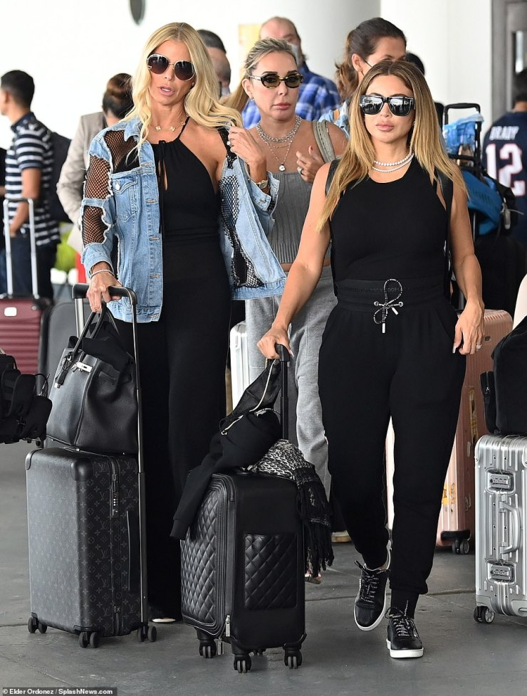 Travel time: Larsa was comfy but stylish in black travel attire whileAlexia Echevarria rocked denim andMarysol Patton donned cozy grey separates