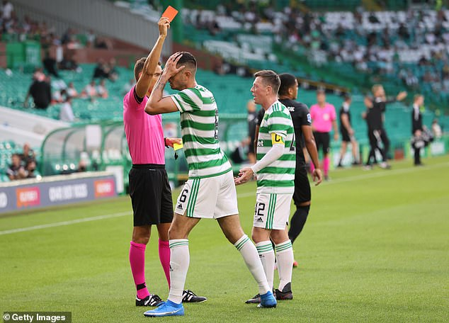Israeli defender Nir Bitton was shown a second yellow card on the brink of half-time