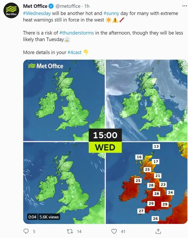 The weather service tweeted: 'Wednesday will be another hot and sunny day for many with extreme heat warnings still in force in the west'