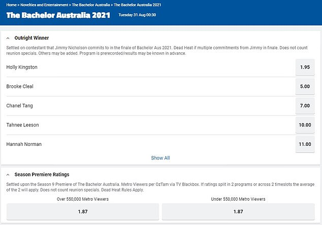 Short odds: As of Wednesday morning, precisely 12 hours before the season launch, Holly has odds of $1.95 on Sportsbet (website pictured)
