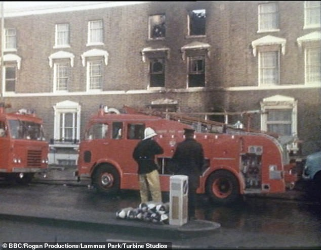 Pictured: fire crews on scene at the New Cross house fire that occurred during a party at a house in New Cross, south-east London, in the early hours of Sunday, 18 January 1981