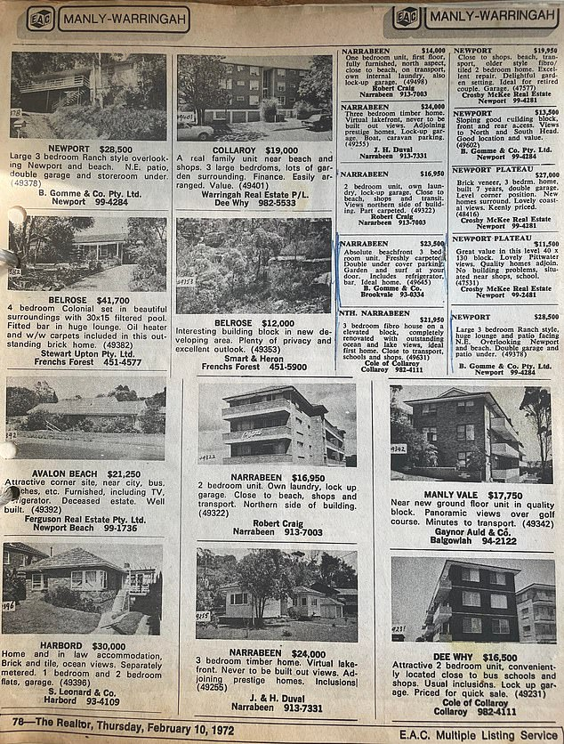 Anyone interested in property on Sydney's Northern Beaches knows how expensive and elusive it will be in 2021, so the 1972 prices are enough to make us wish for the good old days