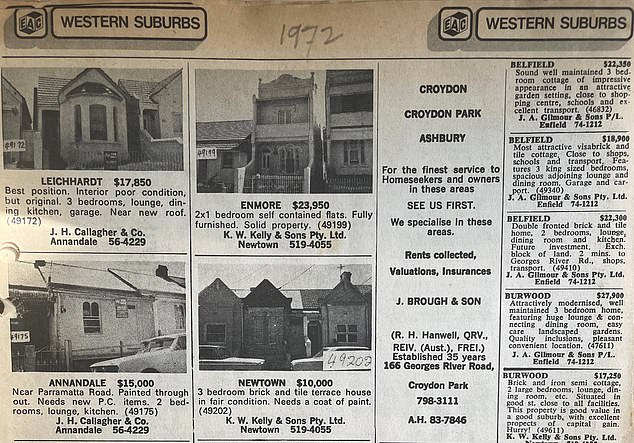 Vintage ads from a 1972 Sydney real estate guide are enough to make any modern property investor try and build a time machine - one had a three bedroom Newtown terrace for sale for just $10,000