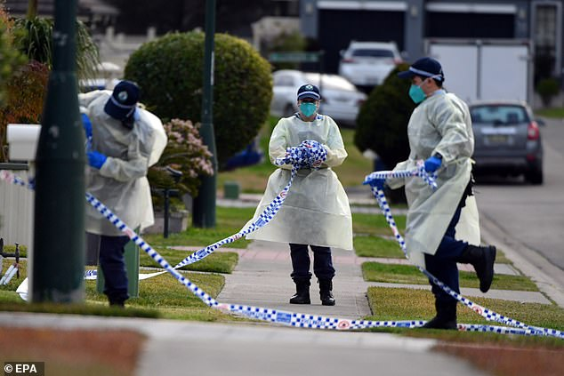 Authorities have been alarmed at the spread of the disease in multi-generational households in Sydney's south-west. Above, police tape at the Green Valley home where mother-of-five Saeeda Shawka, 54, was found dead on Monday, after coming down with the virus