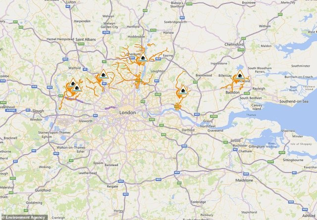 Environment Agency flood alerts for London and Essex are pictured following bursts of heavy rain in some areas